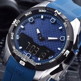 Mens rubber touch led watch online shopping - New Touch Colletion T091 mm Digital Double Display Swiss Quartz Mens Watch Blue Rubber Styles Sports Watches Quality TSTB01a1