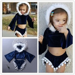 spring carnival 2019 - Baby girl blue velvet hooded outfits clothes princess clothing faux-fur hoods short top +shorts 2 pcs outfits tassels bo