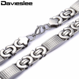 9305c523b1fa 10mm Mens Chain Boy Necklace Silver Tone Flat Byzantine Carved Cross Link  Stainless Steel Necklace Wholesale Jewelry LKN274