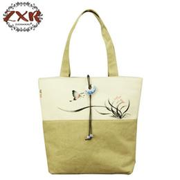 Discount ladies big hand bags - Chinese Painting Series Women Cotton Tote Bag Flower Hand Painted Ladies Soft Big Shoppers Shopping Handbag Jade Pendant