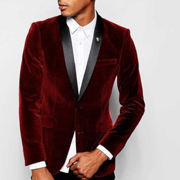 $enCountryForm.capitalKeyWord NZ - Stylish Design Groom Tuxedos Two Button Dark Red Velvet Shawl Lapel Groomsmen Best Man Suit Mens Wedding Suits (Jacket+Pants+Tie) NO:872