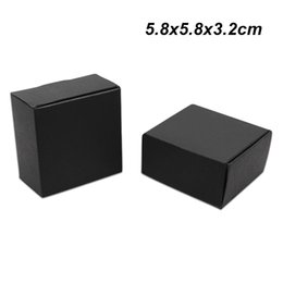 Black jewelry Boards online shopping - 50pcs x5 x3 cm Black Paper Board Handmade Soap Packing Boxes for Jewelry Accessory Kraft Paper Birthday Gifts Storage Packaging Box