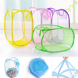 Folded Laundry Basket Canada - 14styles Mesh Fabric Folding Laundry Basket Toy clothes Washing Basket Foldable Dirty Clothes Storage Organizer FFA627 20PCS