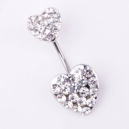 Double belly rings online shopping - D0204 colors The double heart with piercing jewelry stones belly ring navel ring Belly Button Navel Rings with mix colors