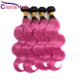 Discount pink human hair bundles Pre Colored Pink Ombre Human Hair Extensions Body Wave Brazilian Virgin Hair 3 Bundles Two Tone 1B Pink Wavy Brazillian