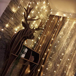 wall curtains UK - LED Window Curtain Icicle Light String Wedding Party Home Garden Bedroom Outdoor Indoor Wall Decorations 110V 220V 3M*3M 300 Leds