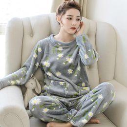 3b18241faa hot sale 2018 Winter new Pijama Thick Pyjamas Warm Women Flannel Pajamas  For Sleepwear kawaii print Pajama Set Female Nightgown