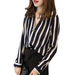 f025ca79768630 women casual chiffon blouses for spring autumn Female long sleeve v-neck shirt  Black Red Striped cropped tops big size 4xl