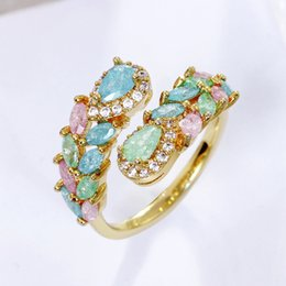 glittering rings Australia - Unique Glitter Zircon Jewelry Light Color Pink Blue Stone Trendy Design Femme Bague Party Gift Valentine's Day Lover Ring