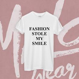 Smile Tee Australia - FASHION STOLE MY SMILE T SHIRT TOP SLOGAN VICTORIA HIPSTER MINIMAL WOMENS TEE