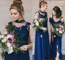 Plus Size Wedding Dresses Dark Purple Australia - Elegant High Low Dark Navy Bridesmaid Dresses Two Types Appliques Chiffon Beach Garden Country Wedding Guest Dress Plus Size 2019