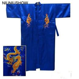 Free Shipping Blue Chinese Men s Satin Silk Embroidery Robe Kimono Bath  Gown Dragon Size S M L XL XXL XXXL S0103-D 3868b7d73