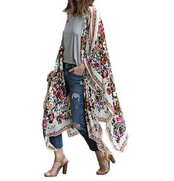 Wholesale Femmes Sheer en mousseline de soie Floral Kimono Cardigan Longue Blouse Loops Tops Outwear Fashion Summer Cover Up 2018