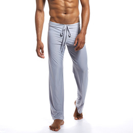 Wholesale men s sexy summer pajamas resale online - Men Long Yoga Pant Thin Pajamas Trousers Soft Sexy Summer Breathable For Home H9