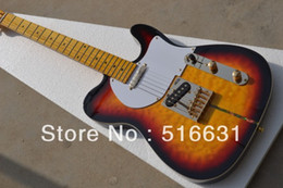 High quality New style TELE sunburst Black surrounding electric guitar in stock 6 strings guitar Golden hardware Free shipping