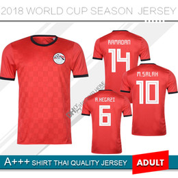 Camiseta de fútbol de Egipto Egipto 2018 Copa del mundo M. SALAH Casa Roja  18 19 KAHRABA A. HEGAZI RAMADAN uniformes del equipo nacional camisetas  camisetas ... 46b11473f29f5