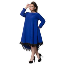 Big size 6XL 2018 Spring Woman Dress Loose solid patchwork knee dresses Fat  MM plus size women clothing 6xl dress 36f2593527b1