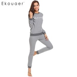 8cefb7201a Ekouaer Women Sleepwear Pajamas Set Long Sleeve Letter Print Patchwork Tops  Long Pant Pajama Sets Female Autumn Winter Nightwear D18110502