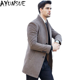 Wholesale single breasted pea coat men for sale - Group buy AYUNSUE New Men Wool Coats Jackets Single Breasted Long Slim Casaco Masculino Youth Casual Men s pea jacket Overcoat LX791