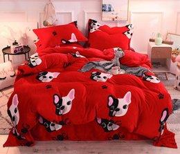 velvet bedding sets 2019 - Cartoon Coral Fleece Bedding Set Thickening Flannel Coral Fleece Velvet Winter Super Warm and Soft Home Fabric discount