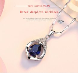 Necklaces Pendants Australia - S999 pure silver necklace female Korean version of fashion micro - set crystal drop drop pendant female new style jewelry clavicle chain