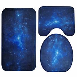 Honlaker Blue Nebula Bath Mat 3 Pieces Set Bathroom Toilet Cover Rug Water  Absorption Antiskid Floor Mat