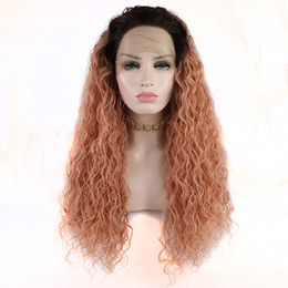 Discount fiber root - Curly Lace Wigs Synthetic Brown Roots Ombre Peach Pink Loose Curly Synthetic Lace Front Wigs Heat Resistant Fiber Hair