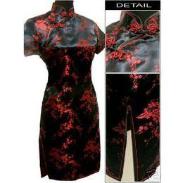 Black red Chinese Women s Satin Cheongsam Qipao Mini Evening Dress Size S M  L XL XXL XXXL 4XL 5XL 6XL 946a84e8bf0e