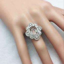Venta al por mayor de Anillo ovalado de 9x11mm 14kt Sólido BLANCO Dorado Natural con Diamantes Naturales