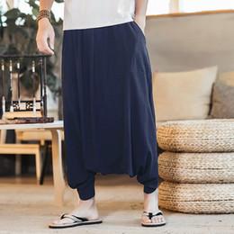 INCERUN Plus Size 5XL Mens Joggers Indian Nepal Style Cotton Linen Harem  Pants Men Casual Low Crotch Trouser HipHop Baggy Pants d51f8a75706f