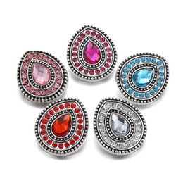 Discount full circle silver bangles - 10Pcs New Snaps Jewelry Full Crystal Water Drop 18mm Metal Snap Buttons Fit Snap Bracelet Bangles Necklaces DIY Jewelry