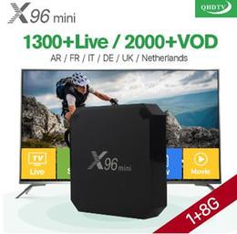 Vente en gros 1 an X96 mini Android 7.1 Smart IP TV Box 4 K Quad Core 1 an QHDTV abonnement au code Europe chaînes X96mini français arabe IPTV Box