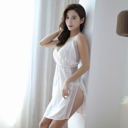 b2aab00070 Sexy Thin Section Pajamas Hot Adult Mood Underwear Pajamas Female Summer  Ice Silk Sexy Suspenders Lace Short Nightdress