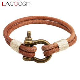 $enCountryForm.capitalKeyWord Australia - lacoogh 2017 New Brief Personality Leather Bracelets for Men Women Alloy Chain Link Men Bracelet & Bangles Fashion Jewelry