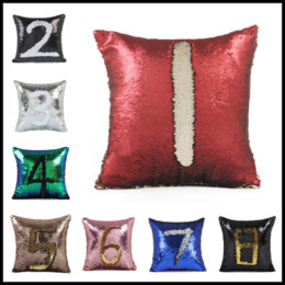 Chinese  40*40cm Cushion Cover 1~17Number Sequin Throw Chair Pillowcase Square Pillow Home Decor for Cars Bedroom Seat manufacturers