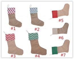 Discount gift bags dhl shipping - 50pcs DHL free shipping Christmas Canvas Stocking Gift Bag Stocking 30*45cm Christmas Tree Decoration Socks Xmas Stockin