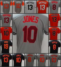 Maillot Orioles Baltimore Orioles # 10 Adam Jones 19 Chris Davis 8 Cal Ripken 13 Manny Machado femme jersey cousu