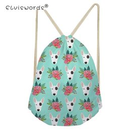 Wholesale ELVISWORDS Drawstring Bag for Men Women Bull Terrier Flower Pattern Backpack Boys Daypack Kids Travel Satchel Softback Mochilas