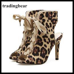 $enCountryForm.capitalKeyWord Canada - Roman Style Women High Heel Animal Prints Leopard Lace Up Peep Toe Pumps Size 35 To 40