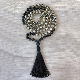 tassels j UK - Black Tassel Jewelry Yoga Prayer beads 108 necklace Meditation Healing Lava Dalmation J-asper Stone Knotted Necklace