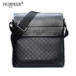 Leather brown briefcase online shopping - HORYEER sacoche homme special offer leather messenger bag fashion men business crossbody bag brand POLO Shoulder briefcase