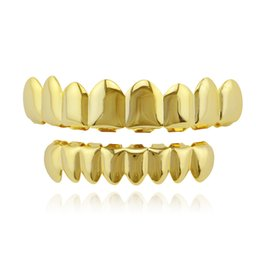 $enCountryForm.capitalKeyWord UK - 24K Gold Plated Finish Hip-hop Grills Set Eight 8 Top Teeth & 8 Bottom Tooth Hip Hop Grills High Quality Party Dance Cool Gift New