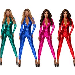 Wholesale women s catwoman costume for sale - Group buy 4 Colors Halloween Mermaid Scale Catsuit Sexy Carnival Theme Costumes Female Catwoman Nightclub Bar Fetish Jumpsuit