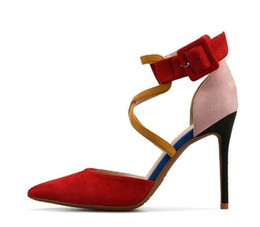 Shoes Belts UK - One-strap Stiletto Heel Shoes Woman Soft Flock Sexy Point Toe Cross Belt Party Shoes High Heeled Pumps