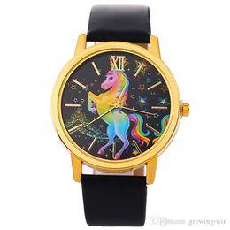 Wholesale rainboW Watch online shopping - fashion star rainbow kids children boys girls unicorn leather watches women ladies dress quartz roma watches