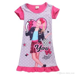 Wholesale Summer Baby Girls jojo siwa Pajama Dress Cartoon Polka Dots Kids Short sleeve Home Clothes Children Lovely Sleepwear C3889
