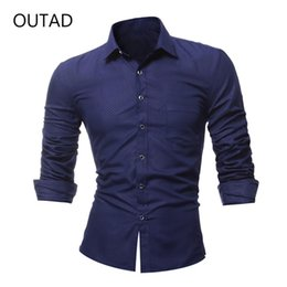 $enCountryForm.capitalKeyWord Canada - OUTAD New Fashion Single Breasted Long Sleeved Shirt For Men Male Turn Down Collar Formal Business Clothes Slim Cutting Shirt