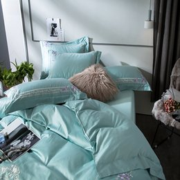 elegant queen size bedding sets 2019 - Elegant Light Green Embroidery Style 60S Egyptian Cotton Bedding Set Duvet Cover Bed sheet Pillowcases Queen King Size 4