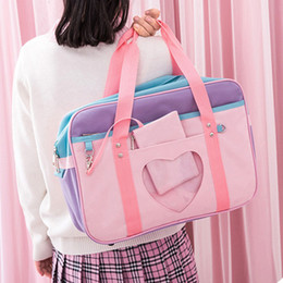 pink patchwork bag Canada - Preppy Style Pink Travel Shoulder School Bags For Women Girls Canvas Large Capacity Casual Luggage Organizer Handbags Totes D18102906