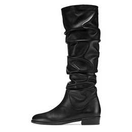 2773d55d5c47 Womens Low Heel Knee High Round toe Pleated Winter Boots 2018 New Plus Size  Casual Ladies Long Slouch Boots Shoes for Street